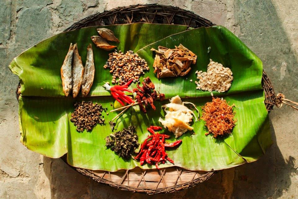 assorted naga herbs and dry fish